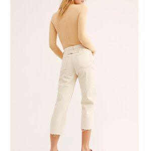 Women's NWT Free People Ivory Barrel Jeans
